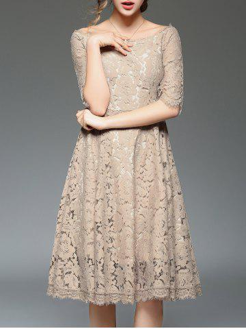 Off Shoulder Lace Knee Length A Line Swing Party Dress With Sleeves - Khaki - Xl
