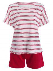 Plus Size Stripe active T-shirt avec Shorts - Rouge