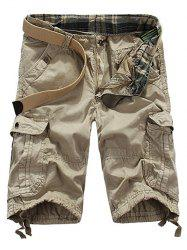 Loose Fit Straight Leg Multi-Pocket Lacing Cuffs Zipper Fly Shorts For Men - OFF-WHITE
