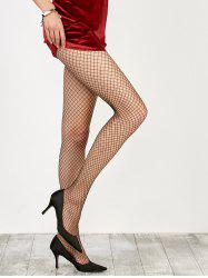 Medium Weave Design Fishnet Pantyhose - BLACK