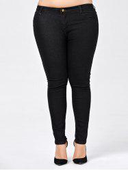 Plus Size Skinny Jeans with Pocket - BLACK