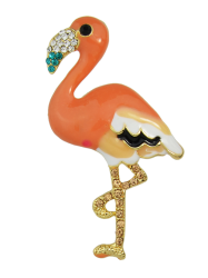 Bird Design Enamel Rhinestone Brooch - ORANGE
