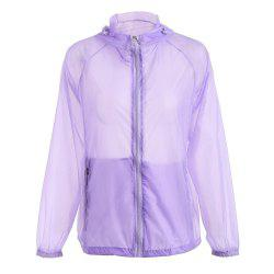 Ultra Windbreaker Skin Thin Hooded Sun Protection Raglan Sleeve - Pourpre