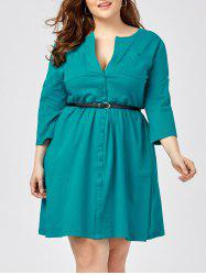 Plus Size Long Sleeve Shirt Dress with Belt