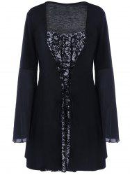Plus Size Flare Sleeve Lace Up Gothic Dress