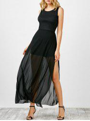 Maxi Sheer Slit Chiffon Cocktail Dress