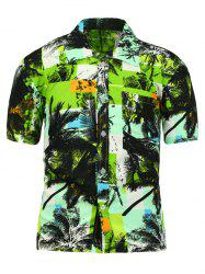 Coconut Tree Print Hawaiian Short Sleeve Shirt
