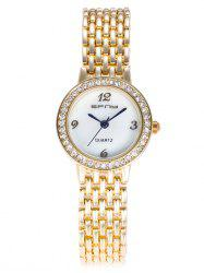 Metallic Strap Rhinestone Number Analog Watch