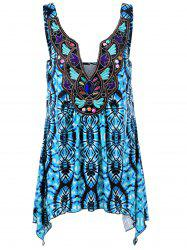 Plus Size Embroidery Tie Dye Tank Top - BLUE