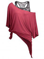 Handkerchief Batwing T-Shirt with Lace Tank Top - WINE RED M