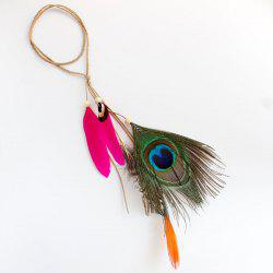 Peacock Feather Pendant Bohemian Headband - ROSE RED