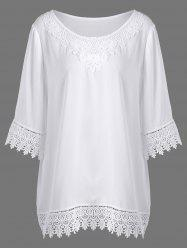 Plus Size Lace Panel Longline Blouse
