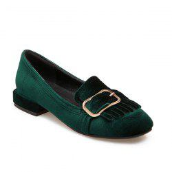 Velvet Buckle Strap Flat Shoes
