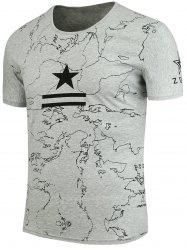 Star Printed Round Collar T-Shirt