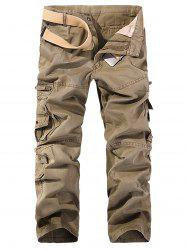 String Embroidered Multi Pockets Cargo Pants -