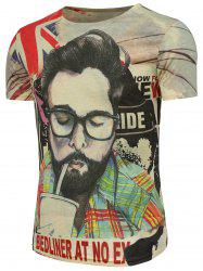 Graphic and Handsome Man Pattern Character T-Shirt