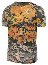 Flowers Printed Short Sleeve T-Shirt