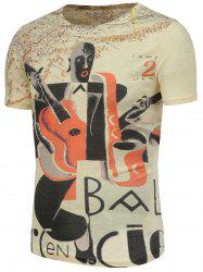 Abstract and Guitar Pattern T-Shirt