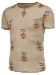 Bee and Crown Pattern T-Shirt