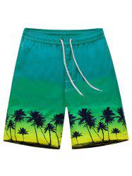 Coconut Tree Print Drawstring Board Shorts - GREEN