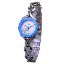 JW Alloy Flower Rhinestone Bracelet Watch