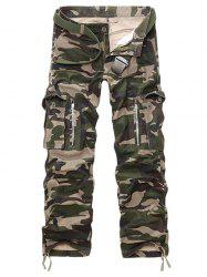 Straight Leg Pockets Military Cargo Pants -