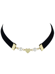 Artificial Pearl Heart Velvet Choker Necklace