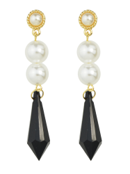Artificial Pearl Geometric Drop Earrings