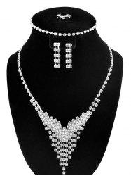 Rhinestone V-Shaped Jewelry Set