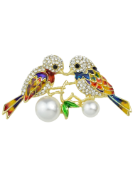 Rhinestone Faux Pearl Birds Brooch - GOLDEN