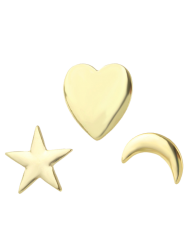 Moon Star Heart Brooch Set - GOLDEN