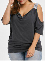 Plus Size Cold Shoulder Sequined Trim T-Shirt - MOUSE GREY