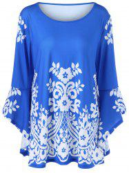 Plus Size Flare Sleeve Tiny Floral T-Shirt -