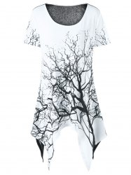 Plus Size Tree Print Asymmetrical T-Shirt - WHITE AND BLACK
