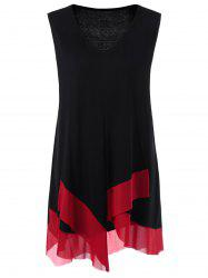 Plus Size Asymmetric Panel Long Tank Top