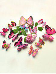 12 Autocollants Pcs Simulation Butterfly Home Decor muraux - ROSE PÂLE