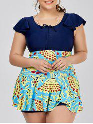 Scoop Neck Print Plus Size Bathing Swimwear