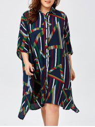 Plus Size Stripe Button Up Chiffon Linen Shirt Dress