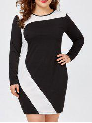 Plus Size Colorblock Casual Fitted Wiggle Dress