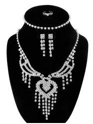 Rhinestone Hollow Out Heart Fringe Jewelry Set