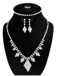 Artificial Diamond Rhombus Jewelry Set