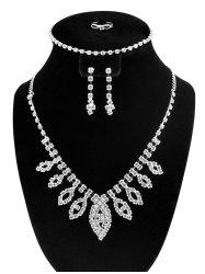Faux Diamond Hollow Out Leaf Jewelry Set