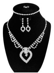 Hollow Out Heart Rhinestone Jewelry Set - SILVER