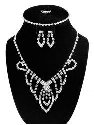 Hollow Out Teardrop Design Rhinestone Jewelry Set