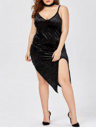 Slit Velvet Choker Plus Size Club Dress
