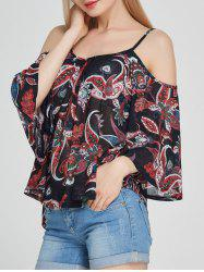Floral Spaghetti Strap Cold Shoulder Top