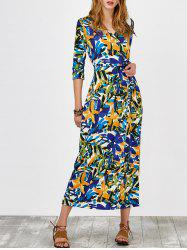 Self Tie Chiffon Printed Wrap Dress