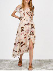 Butterfly Print High Waist Ruffle Asymmetric Cami Dress