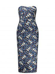 Geometric Print Strapless Pencil Dress