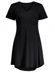 Casual Short Sleeve V Neck Swing Dress - BLACK